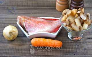 Рыба с шампиньонами в духовке