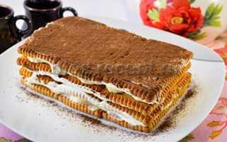 Торт без выпечки из бананов и печенья