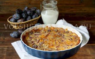 Простой пирог со сливами — французский клафути