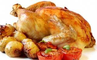 Курица фаршированная в духовке с овощами, картофелем и грибами