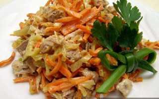 Салат «Обжорка» с куриной и говяжьей печенью – вкусные рецепты