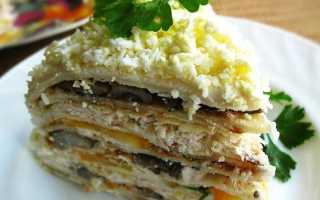 Блинный торт с курицей, сыром и грибами – 7 пошаговых домашних рецептов