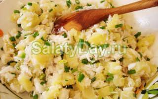 Салат из отварной рыбы с картофелем и маринованными огурцами