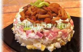 Рецепты салатов с маринованными грибами опятами