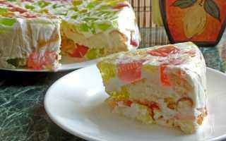 Торт битое стекло 8 разных рецептов с фото пошагово с бисквитом, фруктами, и желе