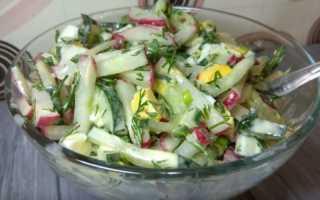 Салаты с редисом и зелёным луком