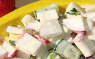 Салат с редиской и огурцом