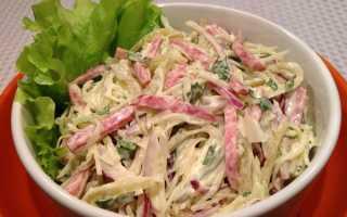 Салат из свежей капусты с копченой колбасой — пошаговые рецепты