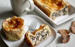 Рецепты пирогов с грибами из слоеного теста