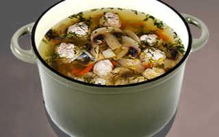 Рецепты грибных супов с фрикадельками