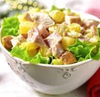 Рецепты необычных, экзотических салатов с ветчиной и ананасами