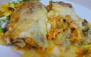Рыба запеченная в духовке с овощами и сыром