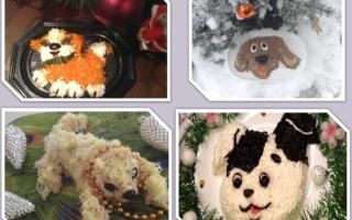 Новогодние салаты в виде собаки на Новый год 2018 — 7 простых и вкусных рецептов