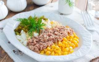Рецепты салатов с тунцом и кукурузой