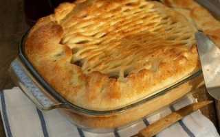 Дрожжевой пирог с картошкой и грибами