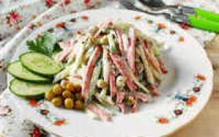 Салаты с копченой колбасой и огурцом: 12 лучших рецептов