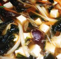Меню вегетарианца: суп тофу с грибами