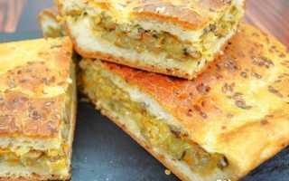 Пирог с капустой и грибами из дрожжевого теста