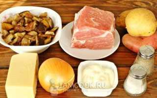 Свинина с картошкой и грибами по-французски в духовке