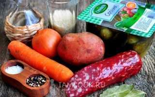 Рецепт рассольника с колбасой